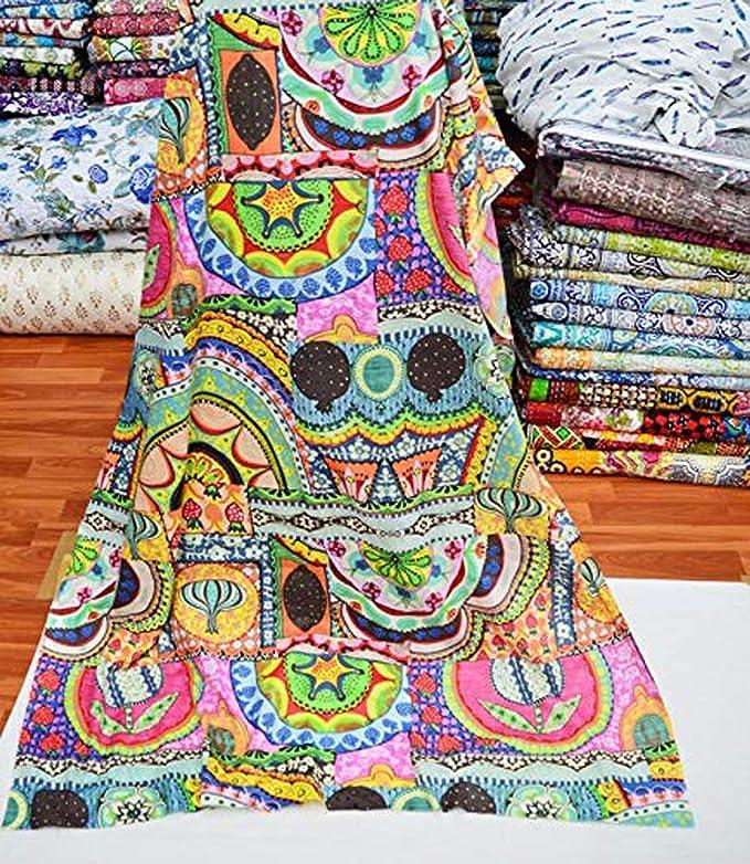 2 Yard 100/% Pure Indian Paisley Handmade Block Cotton Fabric Garment Fabric Sanganeri Hand Block Print Fabric ! Cloth Material Fabric