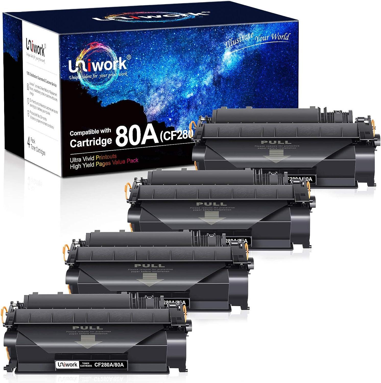 Uniwork Compatible Toner Cartridge Replacement for HP 80A CF280A 80X CF280X 05A CE505A for Laserjet Pro 400 M401A M401D M401N M401DN M401DNE M401DW, MFP M425DN Printer Tray (4 Black)