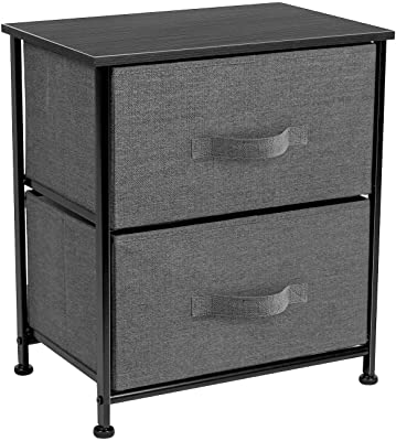 Sorbus Nightstand with 2 Drawers - Bedside Furniture & Night Stand End Table Dresser for Home, Bedroom Accessories, Office, College Dorm, Steel Frame, Wood Top, Easy Pull Fabric Bins (Black)