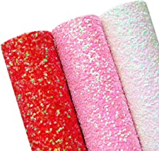 AOUXSEEM Chunky Glitter Sequin Fabric Sheets for Bows【A4 Size】Gorgeous PU Faux Leather Synthetic Craft Fabric for DIY Earrings,Thick Canvas Back,21 cm x 30 cm (Pattern C,3 Colors)