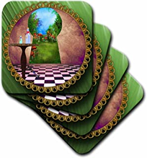 3dRose CST_128860_2 Through The Keyholes Alice in Wonderland & Art Checkered Floor Bottle of Magic Water Soft Coaster (Set of 8)