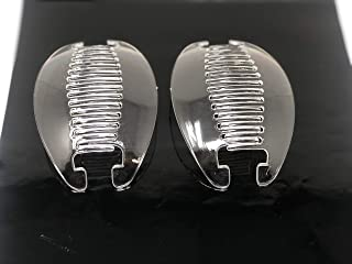 2 set Interlocking Banana Combs Hair Clip French Side Comb Holder (Clear).