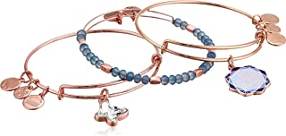 Alex and Ani Women's Be Present In All Things Set of 3 Bracelet, Shiny Rose Gold, Expandable