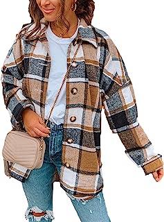 Women's Fall Color Block Plaid Flannel Shacket Jacket...
