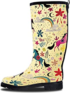 Women's Rain Boots - Tall Rain Boots for Women in Cute Patterns with Matte or Glossy Finish