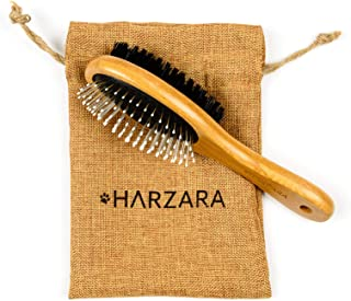 Harzara Eco-Friendly Pet Brush for Cats & Dogs. Professional, Double Sided Pin & Bristle for Short, Medium Or Long Hair. B...