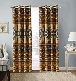 Austin Rustic Western Southwest Native American Window Treatment Grommet Curtain Set in..