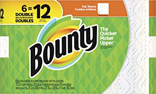 Bounty Paper Towels, White, 6 Double Rolls (Equal to 12 Regular Rolls)