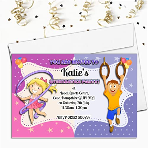 Personalised Birthday Invitations Gymnastics Party x 5