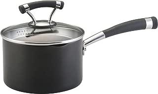 Circulon 82625 Contempo Hard Anodized Nonstick Sauce Pan/ Saucepan with Straining and Lid, 2 Quart, Black