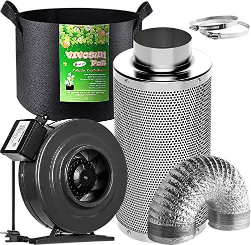 high quality VIVOSUN Air sale Filtration Kit: 6 Inch wholesale 440 CFM Inline Fan, 6'' Carbon Filter and 16 Feet of Ducting Combo, 5-Pack 5 Gallon Grow Bags online