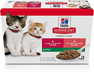 Hill's Science Diet Kitten Canned Cat Food Variety Pack, Liver & Chicken and Savory Salmon, 2.9 Oz, 12 Pack Wet Cat Food