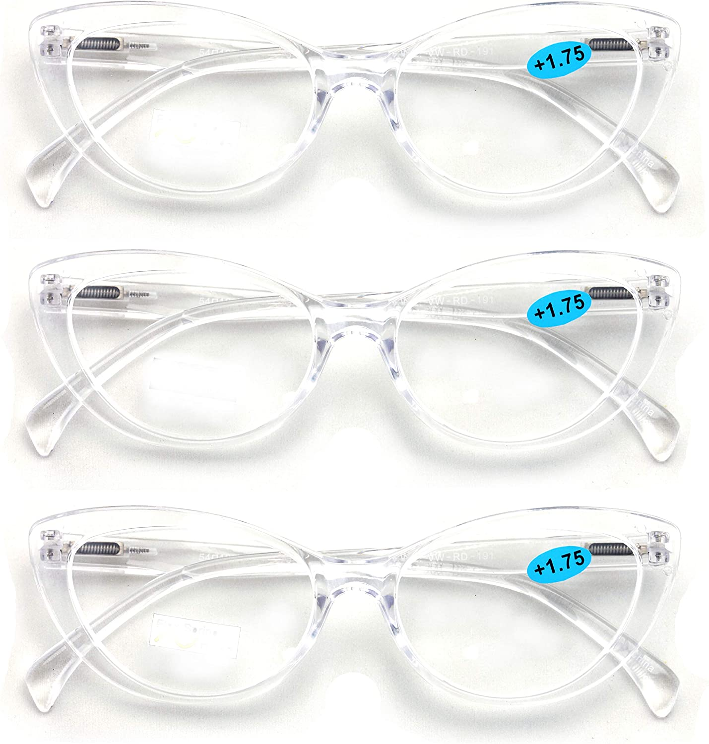 High quality 3 Pairs Lot Women Cateye Floral Translucent Limited time sale Pattern Fashio Clear