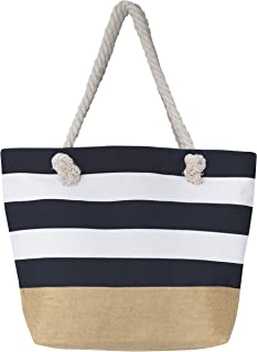 "Leisureland Canvas Tote Beach Bag, Water Resistant Shoulder Tote Bag (L20""xH15""xW6"", Stripe Navy Blue)"