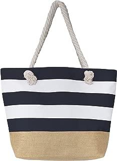 "Leisureland Canvas Tote Beach Bag, Water Resistant Shoulder Tote Bag (L20""xH15""xW6"", Stripe Navy Blue)"
