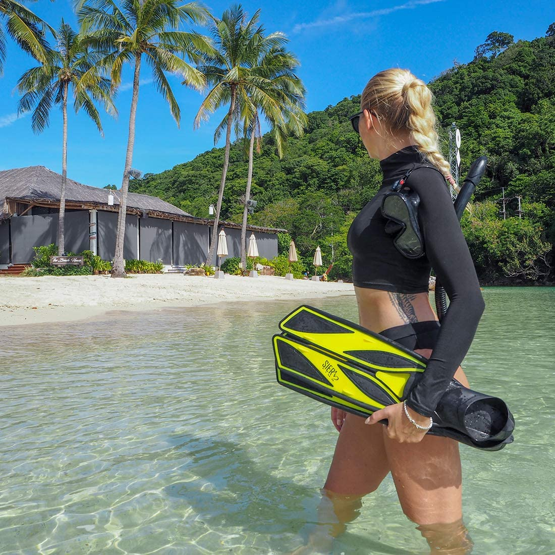 Soft Silicone Full-Foot with Efficient Thrust Swim Fins Secured Tight Fitting Fins Without Any Weak Back Straps SIER FINS
