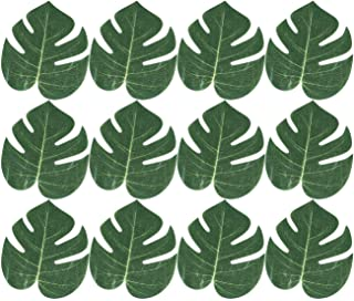 Kicko Tropical Leaves 6.24 X 8 Inches - Pack of 12 - Monstera Hawaiian Leaves Imitation - Party Decorations Events, Weddings, Luau, Hawaiian, Beach, Jungle Party, Arts and Crafts