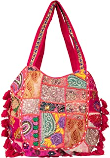 Pink Summer Beach Large Shoulder Bag Tassel Cute Picnic Fashion Hippie Boho Tote Handbag Ethnic Tribal