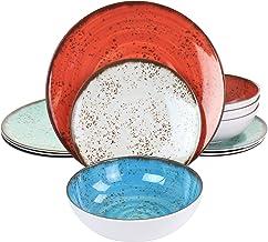 Elama EL-PRYCE Assorted Melamine Dinnerware Set, 12 Piece