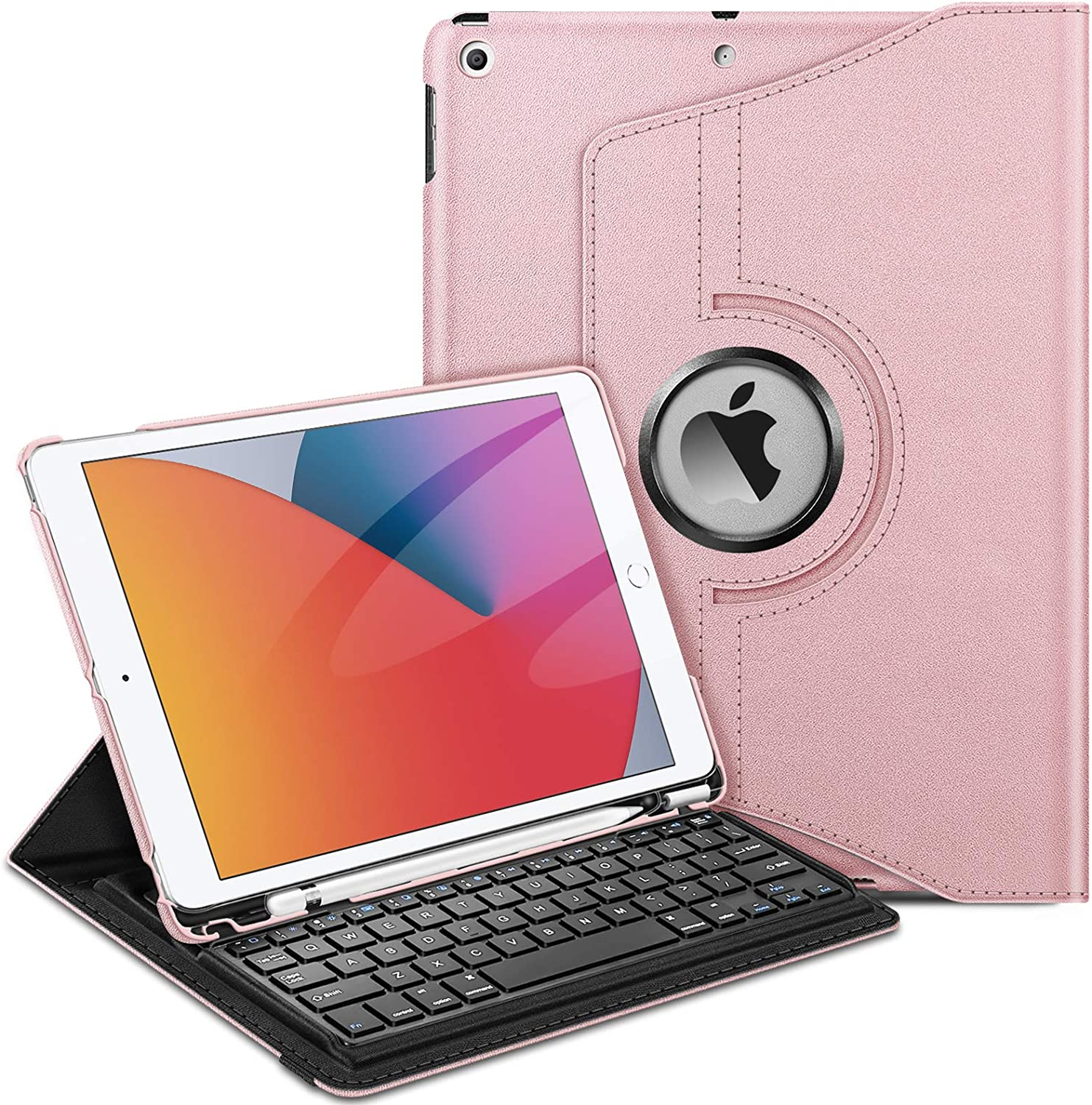 Fintie Keyboard Case for iPad 9th / 8th / 7th Generation (2021/2020/2019 Model) 10.2 Inch, 360 Degree Rotating Smart Stand Cover w/Pencil Holder, Built-in Wireless Bluetooth Keyboard, Rose Gold