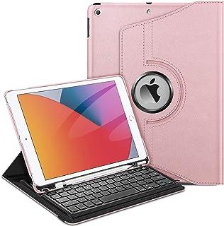 حافظة لوحة مفاتيح Fintie لجهاز iPad الجيل السابع مقاس 10.2 بوصة 2019-360 درجة غطاء ذكي قابل للدوران مع حامل قلم، لوحة مفات...