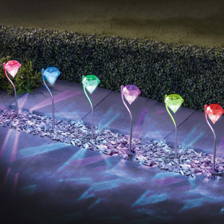 Focos solares de acero inoxidable, LED Solar con forma de diamante, luces que cambian de color, estacas para jardín (4 luces solares): Amazon.es: Hogar