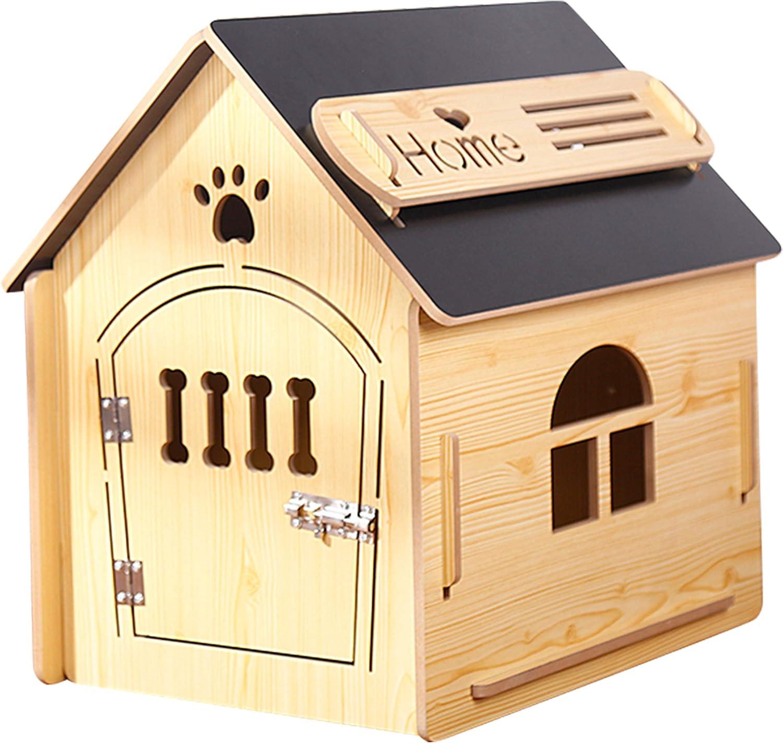 Casa de Madera para Perros I Casa para Perros de Interior I Lugar para Dormir para Las Mascotas I Repelente al Agua y Estable I Varios tamaños y Colores (L (59 x 43 x 59cm), Style 6)