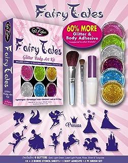 GlitZGlam Fairy Tales Glitter Tattoo Kit With 6 Large Glitters & 12 Amazing Stencils - Hypoallergenic And Dermatologist Te...