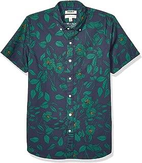 Goodthreads Amazon Brand Men's Slim-Fit Short-Sleeve Printed Poplin Shirt, Black Line Floral X-Large Tall