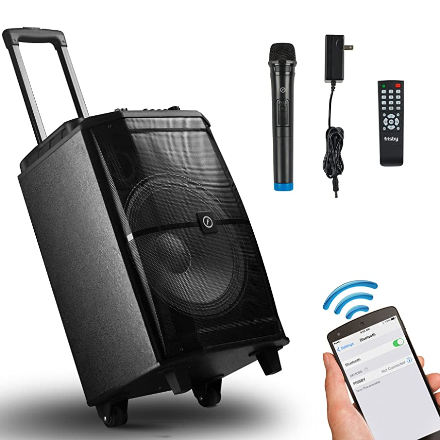 Frisby FS-4400P Bluetooth Portable Karaoke Home Audio Speaker Heavy Duty Trolley System w/ LED DJ Lights, Wireless Microphone, SD USB Reader & Remote Control - Excellent & Sound