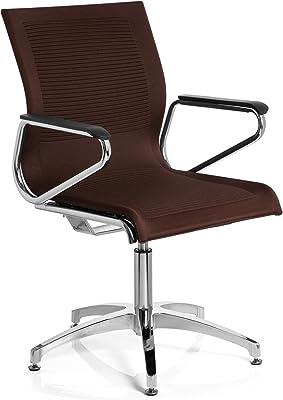 hjh OFFICE 660622 silla de confidente ASTONA V tejido marrón oscuro, apoyabrazos, acero estable
