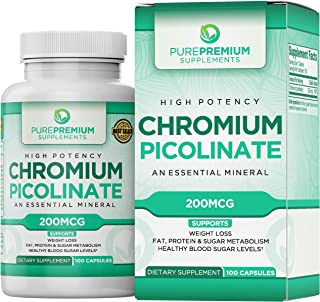 Premium Chromium Picolinate Supplement by PurePremium (Gluten-Free, GMP Certified, High Potency) Chromium Supplement Suppo...