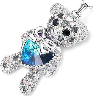 PLATO H ❤ Gift Packaging Teddy Bear Necklace with Swarovski Heart Crystal, Love Heart Bear Pendant Necklace, Women Bear Jewelry, Birthday Graduation Gifts