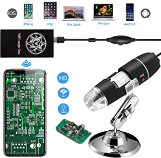 Jiusion WiFi USB Digital Handheld Microscope, 40 to 1000x Wireless Magnification Endoscope 8 LED Mini Camera with Phone Suction, Metal Stand and Case, Compatible with iPhone iPad Mac Window Android