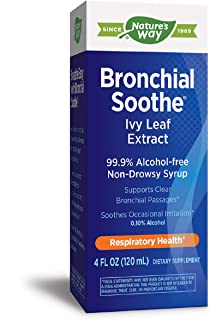 Nature's Way Bronchial Soothe Ivy Leaf 99.9% Alcohol-free Non-Drowsy Syrup, 120 ML (4 Fl Oz.), Clear