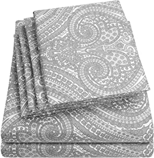 Cal King Size Bed Sheets - 6 Piece 1500 Thread Count Fine Brushed Microfiber Deep Pocket California King Sheet Set Bedding - 2 Extra Pillow Cases, Great Value, California King, Paisley Gray