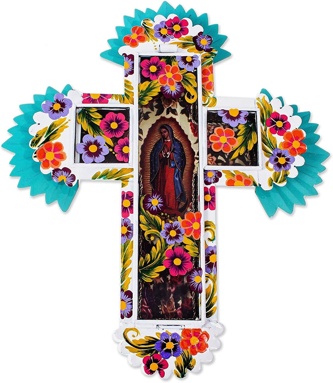 NOVICA Blessed Virgin Wall Cross Metal New shopping product type