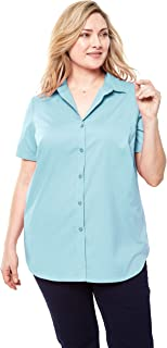 Women's Plus Size Perfect Short Sleeve Button Down Shirt