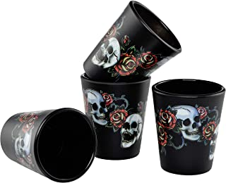 Culver Black Skull and Rose Shot Glass - 1.75-Ounce - Set of 4