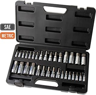 "Hi-Spec 32 Piece S2 Steel Hex Bit Socket Set with SAE and Metric 1/4"", 3/8"" & 1/2"