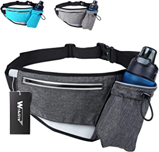Hiking Fanny Packs for Women Men, Fanny Pack with Water Bottle Holder, Running Hydration Belt Bags Reflective Waist Bag for Walking, Travel, Cycling, Climbing Fit iPhone 6 Plus(Black Blue Grey)