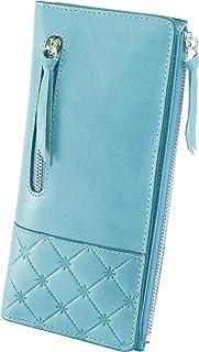 AINIMOER Women's RFID Blocking Large Capacity Luxury Genuine Leather Clutch Wallet Card Holder Organizer Ladies Purse(Vintage Gray Blue)