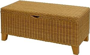Sehr stabile Bett-Truhe / Wäschetruhe auf Holzrahmen, Sitzbank aus Natur-Rattan in der Farbe Honig (120)