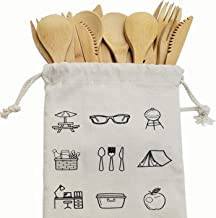 Bamboo Cutlery Set - New18-Pieces Bamboo Flatware Knives, Fork, & Spoons for Picnic, Hiking, Travel or Party Reusable Uten...