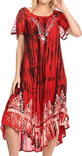 Sakkas Ronny Lace Embroidered Cap Sleeve Tie Dye Wash Caftan Dress/Cover Up