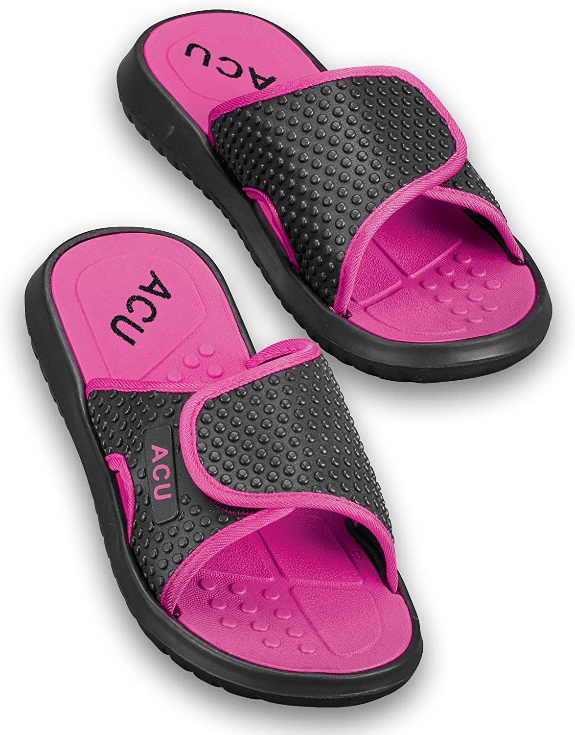 Collections Etc Women's Adjustable Easy-to-Wear Massaging Slides