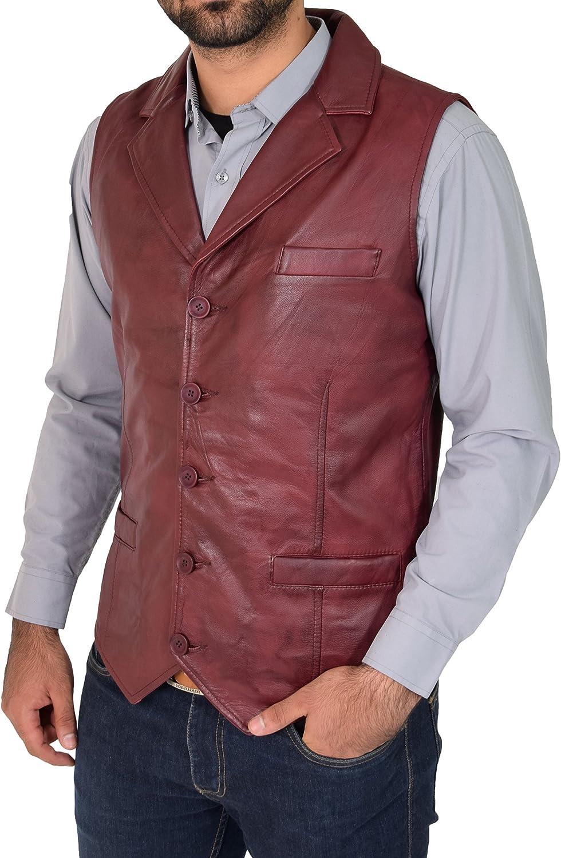 Mens Genuine Burgundy Soft Leather Waistcoat Revere Collar Western Vest Yelek Rhys