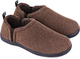 Snug Leaves Men's Fuzzy Wool Felt Memory Foam Slippers Anti-Slip Warm Faux Sherpa House Shoes with Dual Side Elastic Gores