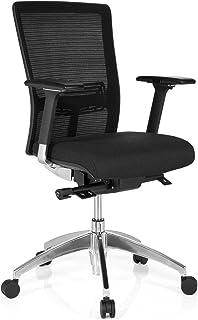 hjh OFFICE 657511 silla ejecutiva ASTRA BASE malla/tela negra silla escritorio ergonomica con reposabrazos soporte lumbar