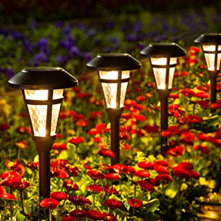 GIGALUMI 6 Pcs Solar Lights Outdoor, Bronze Finshed, Glass Lamp, Waterproof Led Solar Lights for Lawn、Patio、...